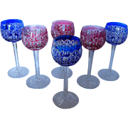 St Louis 2 colors overlay crystal Hock glasses - Riesling frame - 6pcs (red& blue)