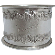 French antique sterling silver Rococo napkin ring