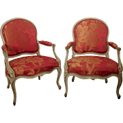 French antique pair of Louis XV armchairs, Lelarge stamp
