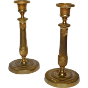 French antique pair of Empire ormolu bronze candlesticks
