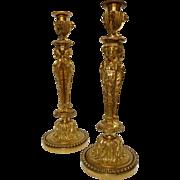 Pair of ormolu candlesticks, Louis XVI style, after J.D. Dugourc