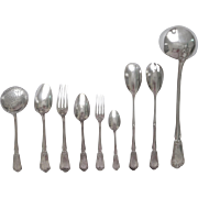 French antique sterling silver flatware set, Louis XV style - 63p - Hénin