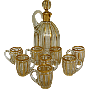 Antique French Baccarat crystal liquor set enhanced with fine gold