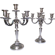 Pair of antique French silver plate candelabras, Louis XVI style, silversmith Lapar