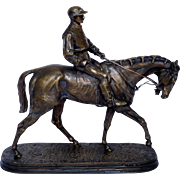 Antique French bronze by PJ Mene : horse and jockey, signed, 19th century