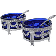 Pair of antique French sterling silver salt cellars, late 19th century, Christofle