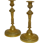 Antique French pair of bronze candlesticks, Louis XVI style