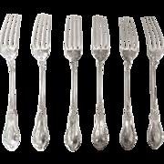 Set of 6 antique French sterling silver dessert forks - Victor Boivin