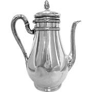 Antique French sterling silver coffee pot, Louis XVI style, Hénin