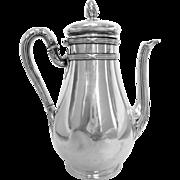 Antique French sterling silver coffee pot, Louis XVI style, Hénin