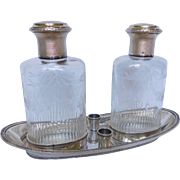 Antique French Baccarat crystal & sterling silver perfume bottles set