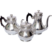 French antique sterling silver tea / coffee set, Louis XV style, Henin, 19th century