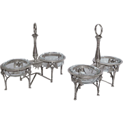 Antique French pair of sterling silver salt cellars, circa 1800