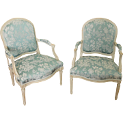 18th century - Pair of antique French armchairs, Louis XV - Louis XVI transition period, circa 1770-75