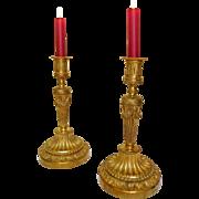 Pair of ormolu candlesticks - Louis XVI Style - Subes collection at Château des Evêques