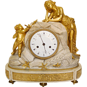 Large marble and ormolu Louis XVI clock - Love offering doves to Venus - 18th century