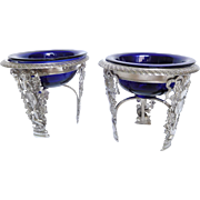 Pair Of French Empire Sterling Silver And Blue Crystal Salt Cellars