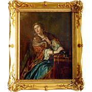 18th century French School, portrait of Mary Magdalene or Adrienne Lecouvreur, rich gilt wood frame