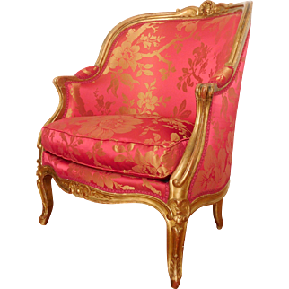 Large Louis XV style gilt bergere, silk cover - France 19th century