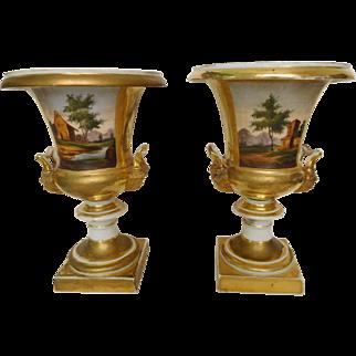 Pair of Paris porcelain Medicis gilt and painted vase, France circa 1830