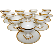 Empire style gilt porcelain tea set - 12 Pieces