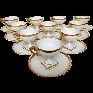 Empire style gilt porcelain tea set - 12 Pieces