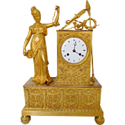 Empire Ormolu Clock, Hunting Allegory - France circa 1810