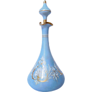 Baccarat Opaline Crystal wine decanter - Blue And Gold gilt Orientalist decoration - France circa 1880