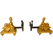 Pair Of Ormolu Sphinxes Andirons - Regency Style After André Charles Boulle - Subes Collection