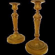 Pair Of Louis XVI Style Ormolu Candlesticks (gilt Bronze) France 19th century