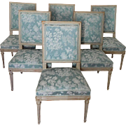 6 Louis XVI chairs, stamped Delaisement - late 18th century