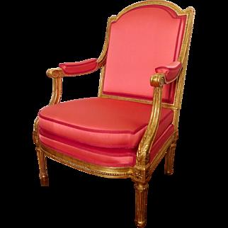 "Prestige gilt wood Louis XVI armchair ""coin de feu"" - attributed to Jacob"