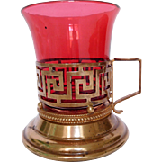 Antique French warm wine cup, red glass & gilt bronze (ormolu), 19th century
