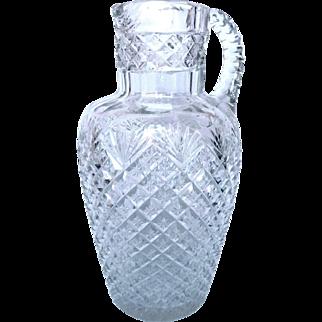 Baccarat Tall Crystal Pitcher Very Richly Cut - France Circa 1900
