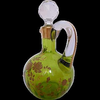 Baccarat Small Liquor Decanter Gilt And Green Chartreuse Crystal - France circa 1890