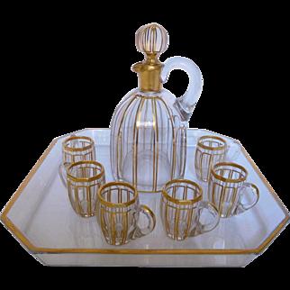 Baccarat antiaue Gilt Crystal Liquor Set - 8 Pieces, Louis XVI style - France circa 1890
