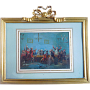 """Early 19th Century English School """"the Hunters Regaling"""" Oil On Panel"""