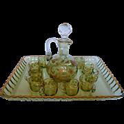 Baccarat crystal liquor set, 10 pcs, enhanced with fine gold, circa 1880