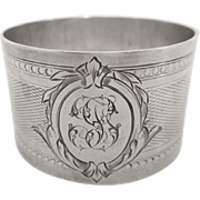 Antique French sterling silver napkin ring, Louis XVI style, FG monogram