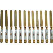 Antique French 12 vermeil & mother of pearl fruit knives, circa 1830