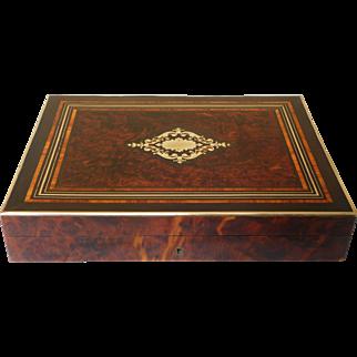Antique French Gambling Marquetry Box Napoleon III Period circa 1860