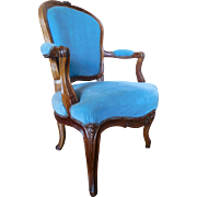 Antique French Louis XV walnut cabriolet armchair, 18th century