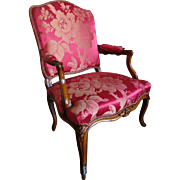 Antique French Louis XV armchair stamped Mathon, 18th century