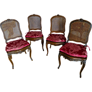 Set Of 4 Caned Chairs Louis XV Style Tassinari And Chatel Silk