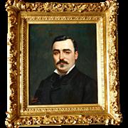 19th Century Gentleman Portrait - Oil on canvas & Gold Leaf Gilt Wood Frame - France Circa 1870