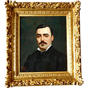 19th Century Gentleman Portrait - Oil on canvas & Gold Leaf Gilt Wood Frame - France Circa 1870
