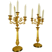 Pair Of 5 Lights Empire Candelabra Chiseled And Ormolu Bronze - France Circa 1820