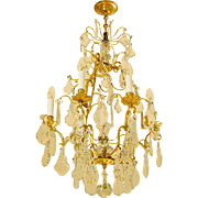 Baccarat Louis XV Style Cage Chandelier With Crystal Cut Pendants