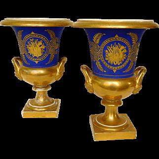 Large Pair Of Paris Porcelain Medicis Vases Blue And Gold - France Circa 1820-30