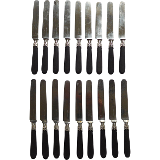 Cardeilhac : Antique French sterling silver and ebony knives, set for 18